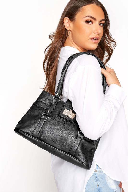 dla puszystych Black Buckle Detail Shoulder Bag