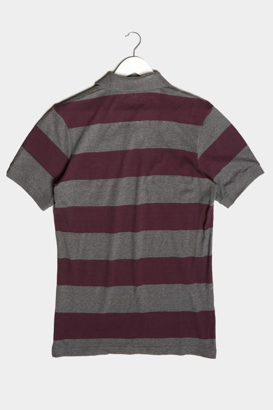 BadRhino Charcoal Grey & Burgundy Striped Polo Shirt