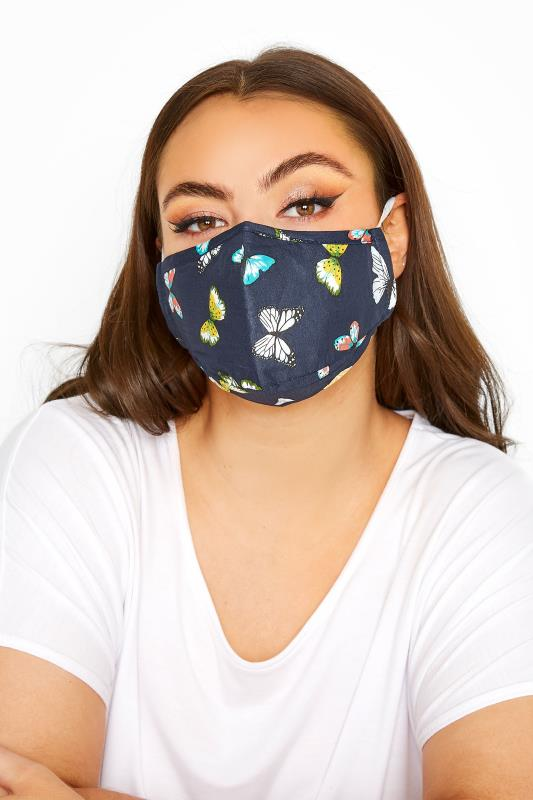 Plus Size  Navy Butterfly Print Filtered Face Mask