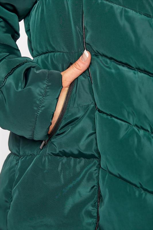 Green PU Trim Panelled Puffer Jacket_E.jpg