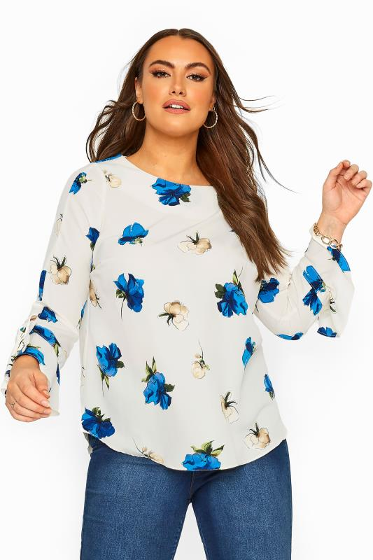 Plus Size Casual / Every Day White Floral Print Flute Sleeve Blouse