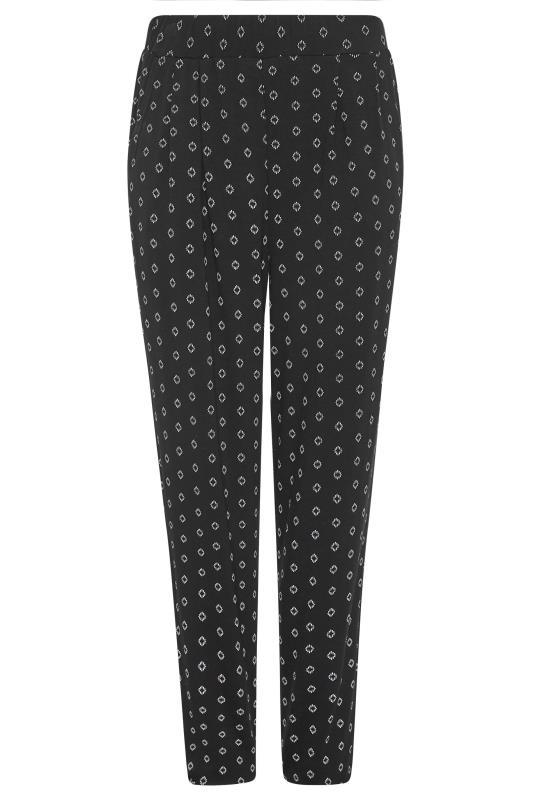 LTS Black Geometric Double Pleat Jersey Harem Trousers_F.jpg