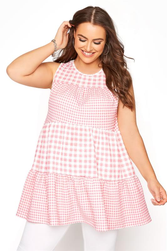 Plus Size  Pink Contrast Gingham Tiered Vest