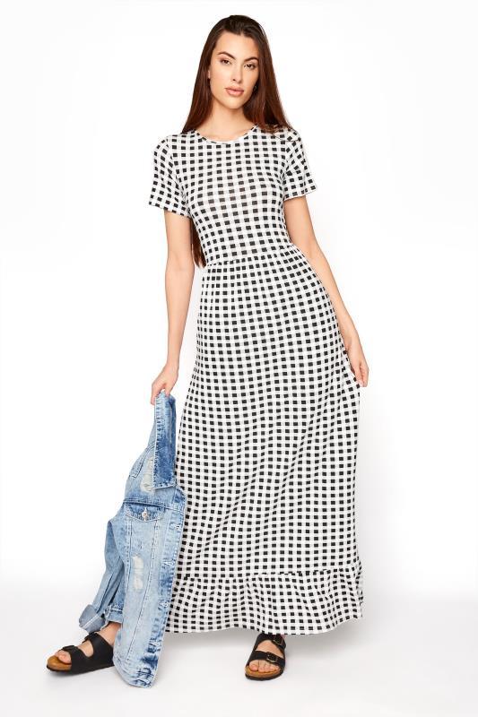 LTS Black Gingham Tiered Maxi Dress