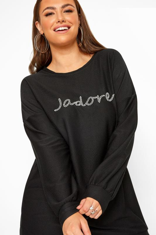 Black Stud J'adore Slogan Knitted Top