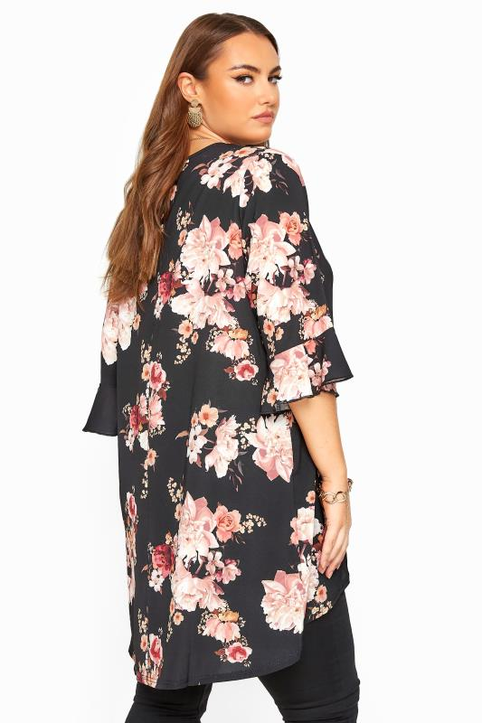 Black Floral Print Dipped Hem Tunic