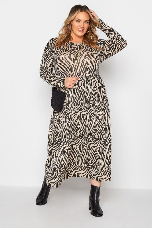 LIMITED COLLECTION Beige Zebra Print Smock Midaxi Dress_B.jpg
