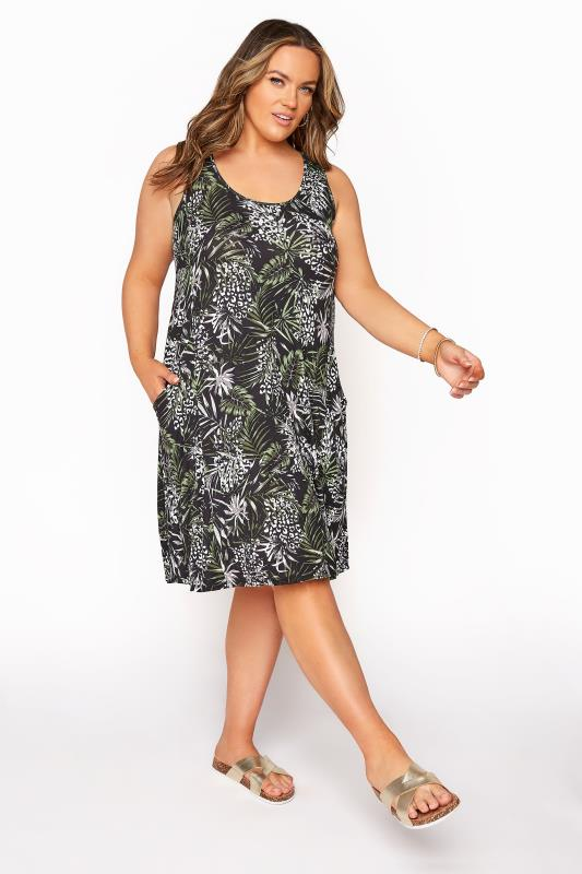 Plus Size  Tropical Animal Drape Pocket Sleeveless Dress