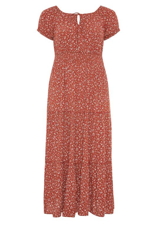 Rust Ditsy Puff Sleeve Boho Smock Maxi Dress_F.jpg