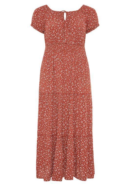 Plus Size  Rust Ditsy Puff Sleeve Boho Smock Maxi Dress