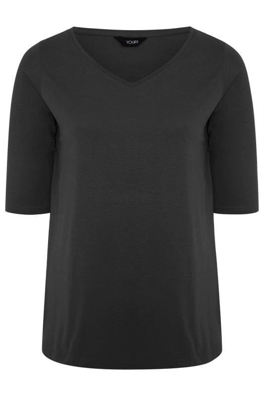 Black V-Neck Cotton Top