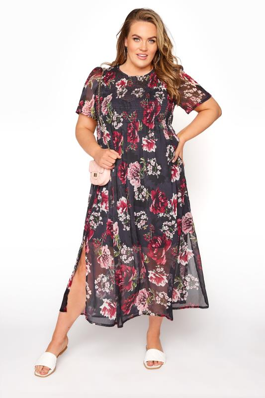 LIMITED COLLECTION Black Floral Shirred Maxi Dress_B.jpg