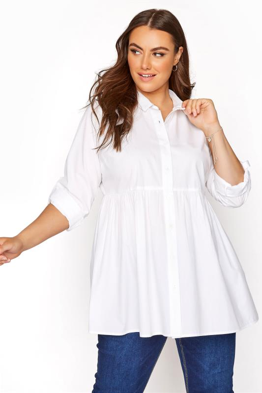 dla puszystych YOURS LONDON White Turn-Up Sleeve Smock Cotton Shirt