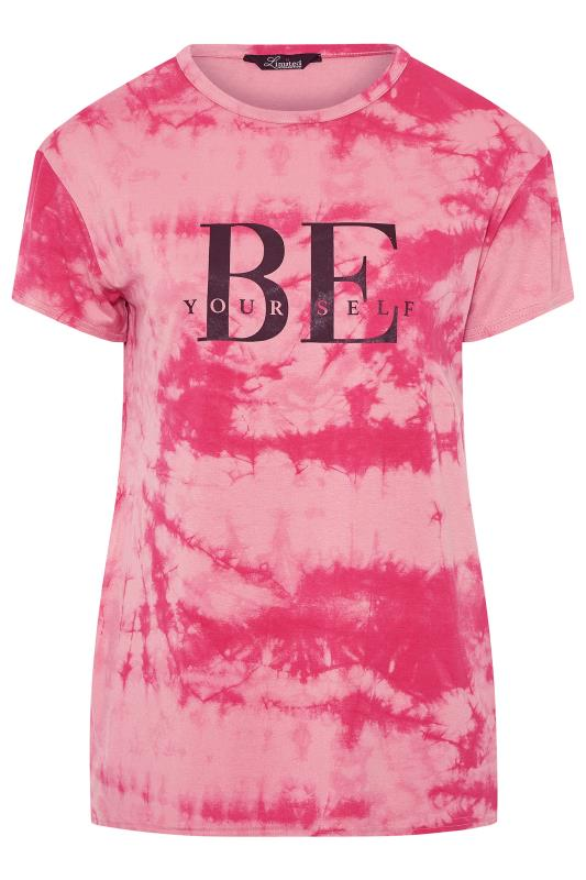 LIMITED COLLECTION Pink Tie Dye Slogan T-Shirt