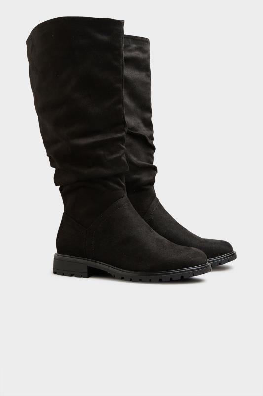 Black Ruched Cleated Boots In Regular Fit_C.jpg