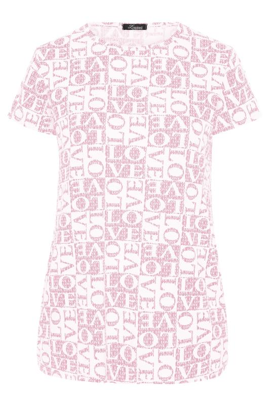 LIMITED COLLECTION Pink 'Love' Printed T-Shirt_F.jpg