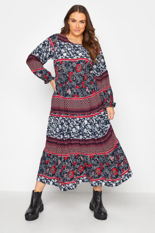 Plus Size  LIMITED COLLECTION Black Floral Patchwork Tiered Maxi Dress