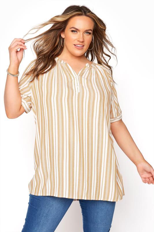 Plus Size  Yellow Stripe Raglan Sleeve Shirt
