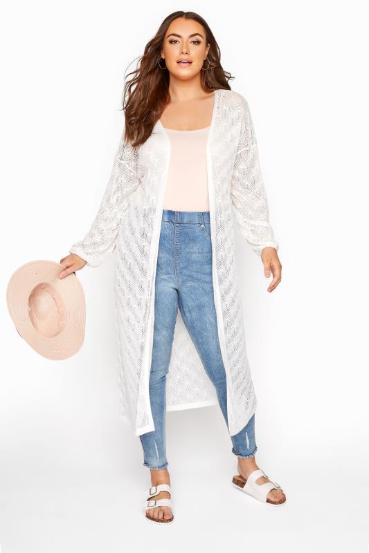 Plus Size  White Balloon Sleeve Cardigan