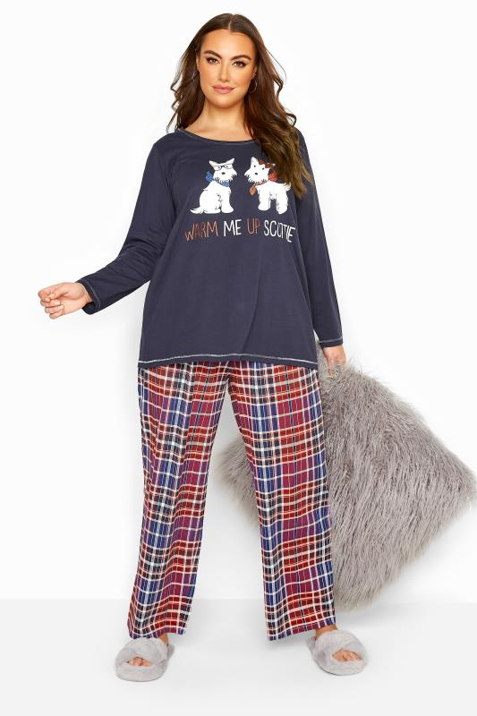 Plus Size  Navy Check 'Warm Me Up' Slogan Pyjama Set