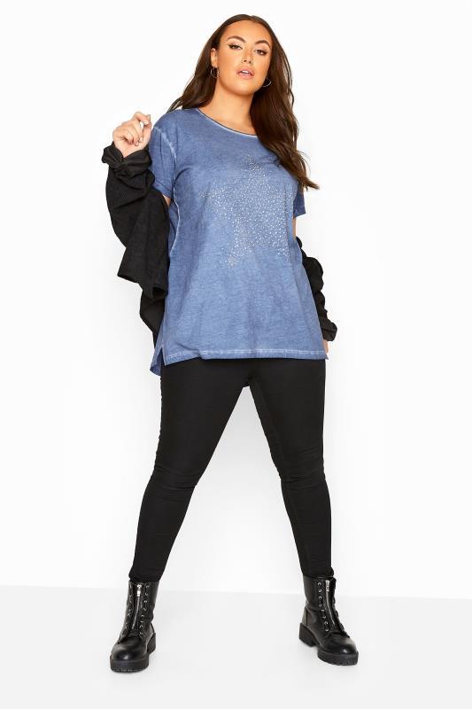 Blue Acid Wash Stud Star T-Shirt