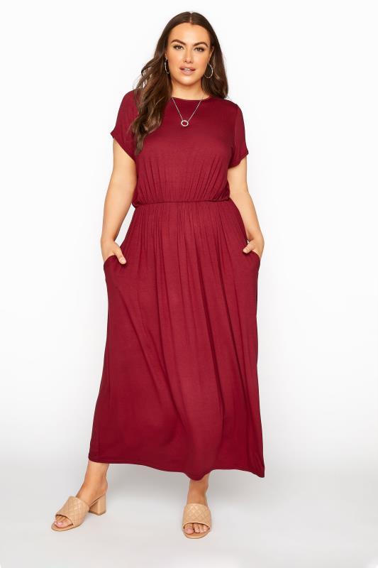 dla puszystych YOURS LONDON Wine Red Pocket Maxi Dress