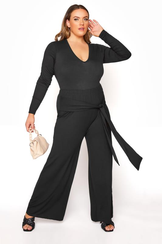 Plus Size  YOURS LONDON Black Wide Leg Belted Trousers