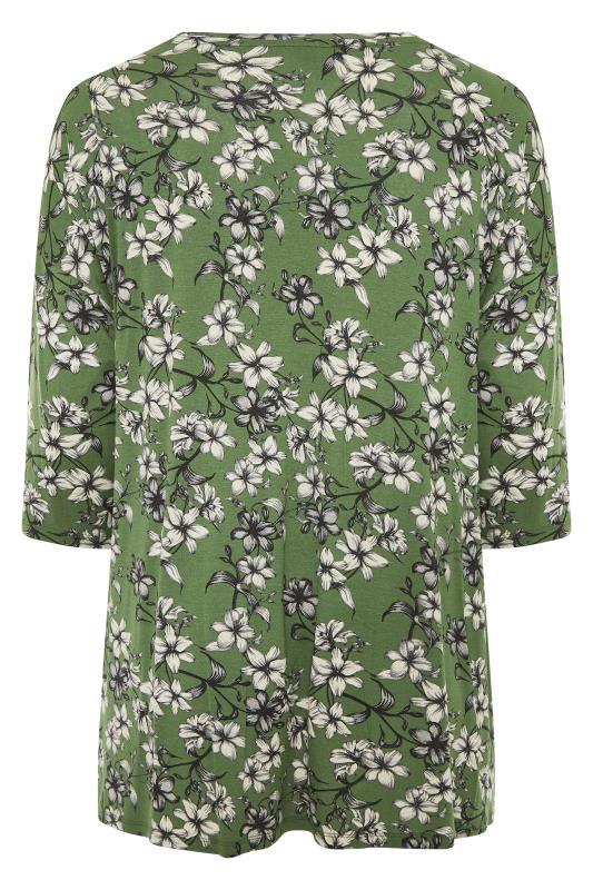 Green Floral Split Hem Tunic_BK.jpg