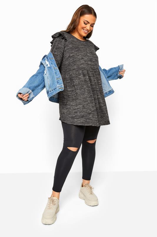 Charcoal Grey Marl Frill Knitted Peplum Top_B.jpg