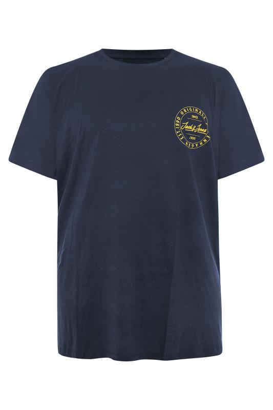 Plus Size  JACK & JONES Navy Move Chest Logo T-Shirt