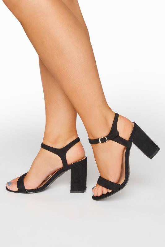 Yours LIMITED COLLECTION Black Block Heel Sandal In Extra Wide Fit