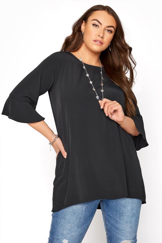 Plus Size  Black Flute Sleeve Tunic