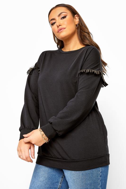 Black Stud Tassel Sleeve Sweatshirt