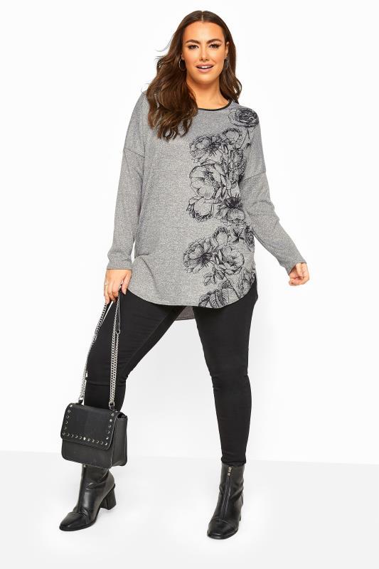 Grey Floral PU Trim Dipped Hem Knitted Top