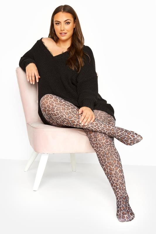 Brown Leopard Print Tights