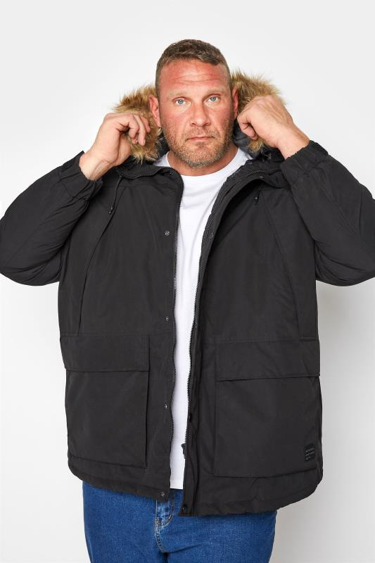 Men's  JACK & JONES Black Super Parka Coat