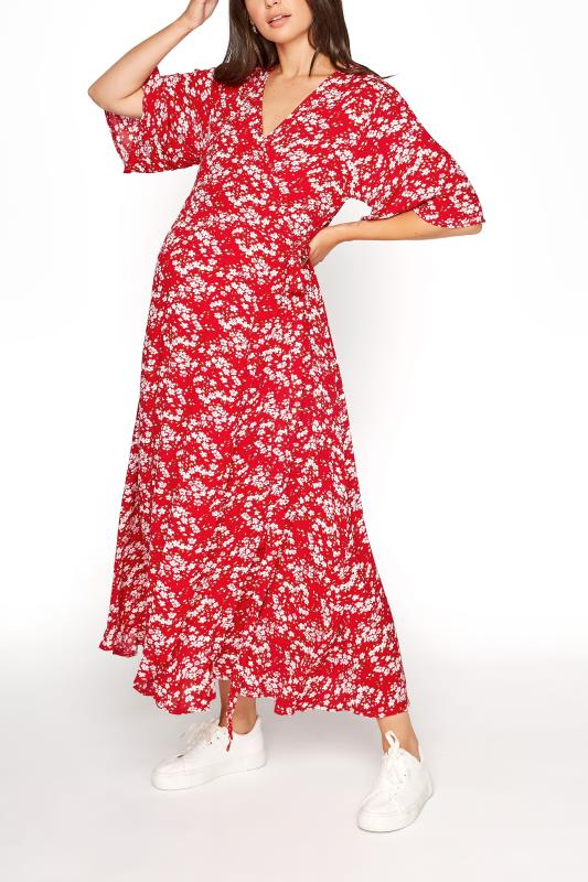 Tall  LTS Maternity Red & Pink Floral Wrap Dress