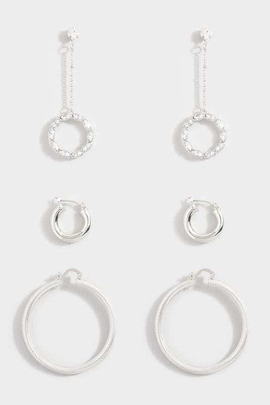 3 PACK Silver Diamante Drop Hoop Earrings