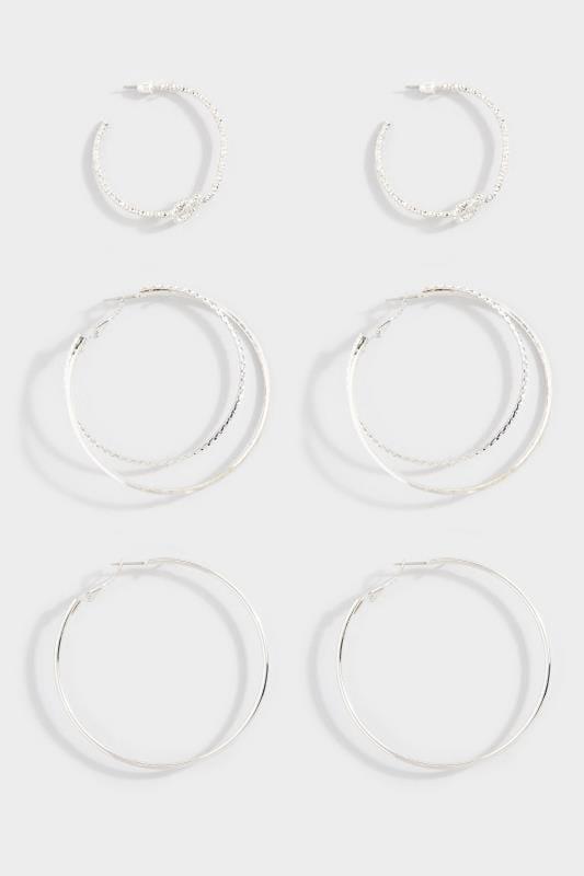 3 PACK Silver Knot Hoop Earrings