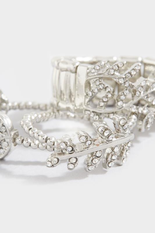 3 PACK Silver Diamante Leaf Rings