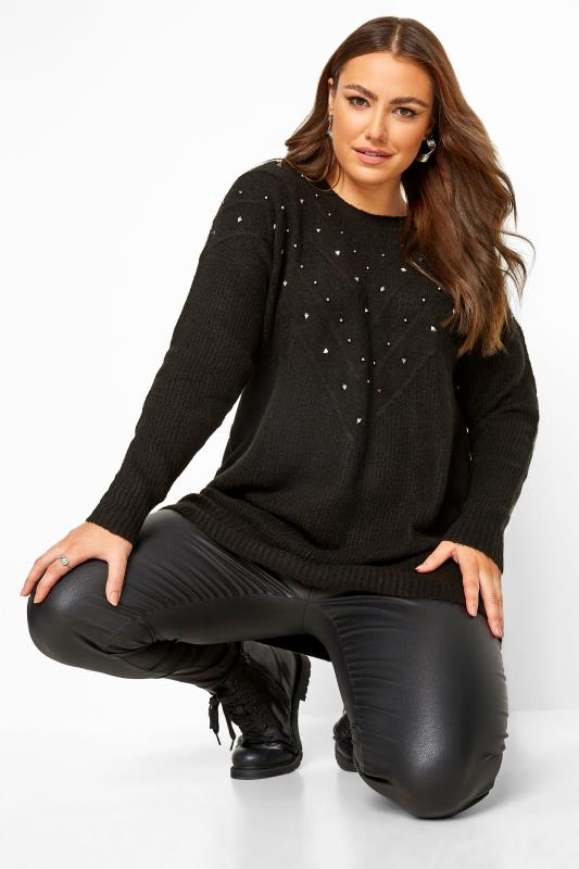 Plus Size Jumpers Black Studded Chevron Knitted Jumper