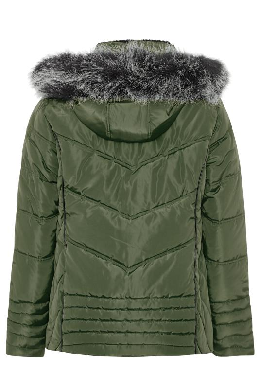 Khaki Green PU Trim Panelled Puffer Jacket