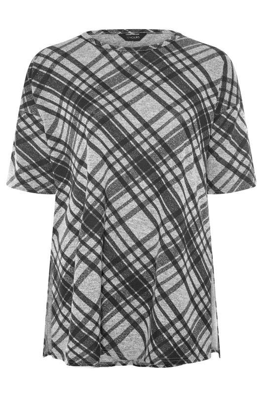 Grey Check Print Oversized Top_F.jpg