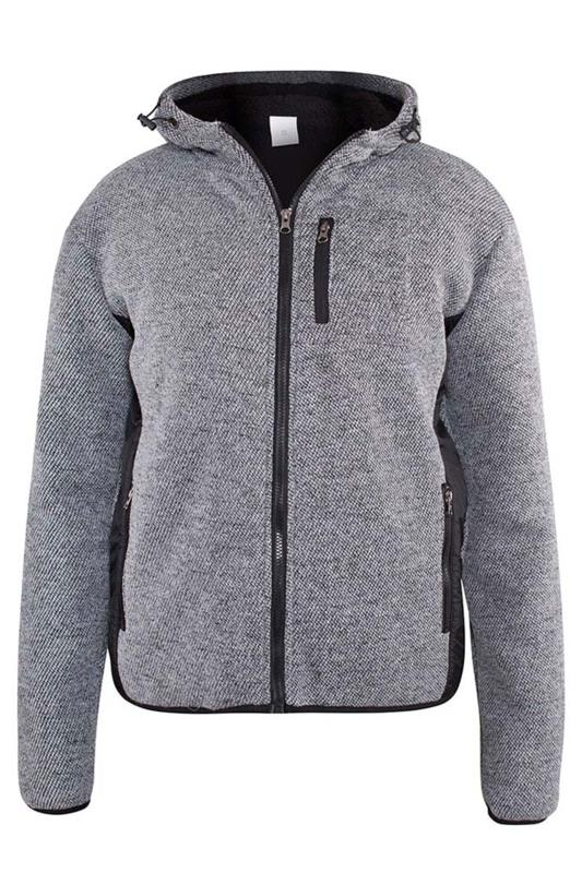 Plus Size Casual / Every Day D555 Grey Sherpa Zip Through Jacket