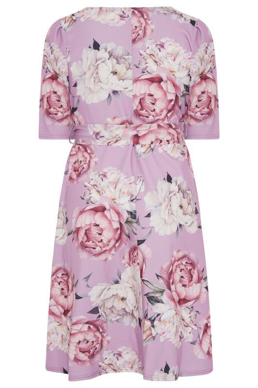 YOURS LONDON Lilac Floral Square Neck Dress_BK.jpg