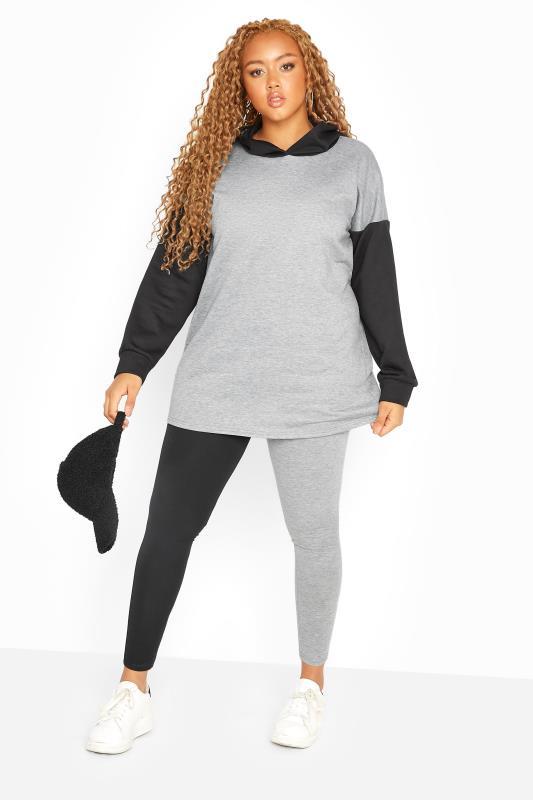 Plus Size  Black & Grey Contrast Leggings