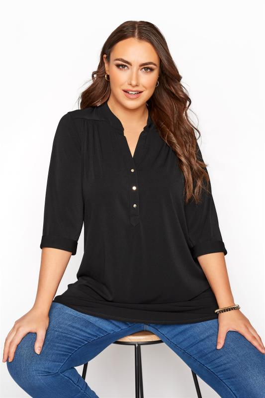 Plus Size  Black Grandad Collar Overhead Shirt
