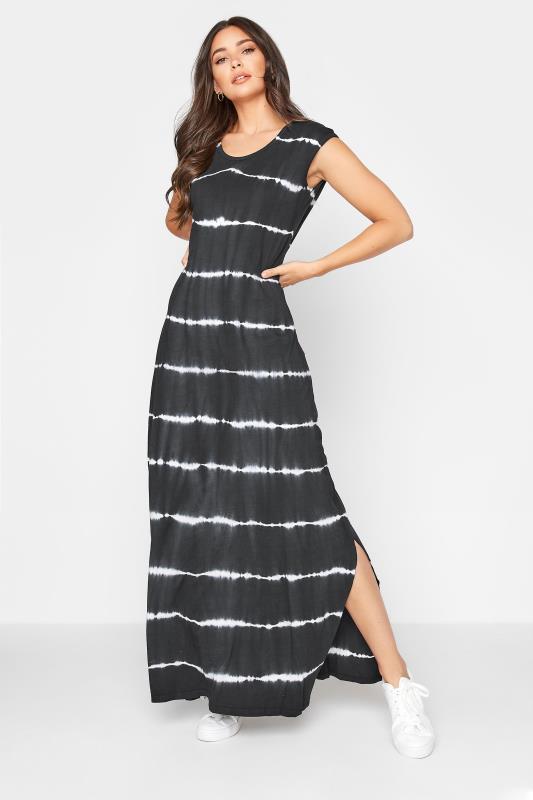 Tall  LTS Black Tie Dye Side Splits Maxi Dress