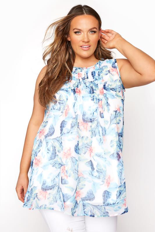 Plus Size  White & Blue Floral Pleated Front Sleeveless Top