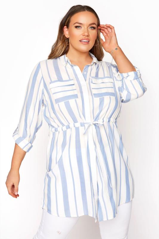 Plus Size  White and Blue Stripe Longline Peplum Shirt